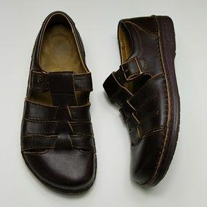 BIRKENSTOCK brown leather madeira fisherman sandal